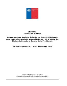 INFORME CONSULTA PÚBLICA Anteproyecto de Revisión