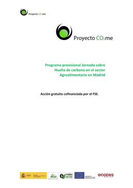 Programa provisional Jornada sobre Huella de carbono en el sector