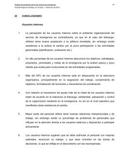 IX. CONCLUSIONES Usuarios internos 1. La percepción de los