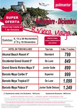 Riviera maya Nov diciembre hasta 7 Octubre