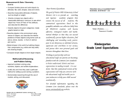 Kindergarten Grade Level Expectations - Prairie