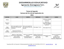 Tareas de Segundo Semana del 22 al 26 de Septiembre de 2014