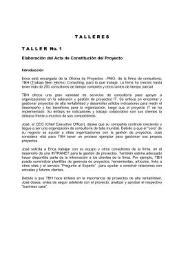 T A L L E R E S - Especialización en Gerencia de Proyectos