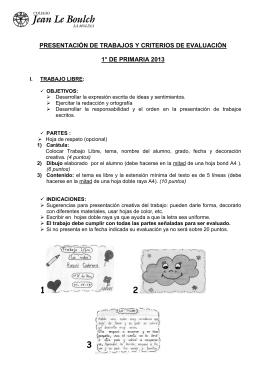 presentación de trabajos y criterios de evaluación 1° de primaria 2013