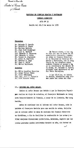 Acta del Consejo Directivo - Biblioteca Digital de la Facultad de