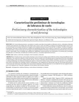 Caracterización preliminar de tecnologías de labranza de suelo