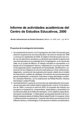 Informe de actividades académicas del Centro de Estudios