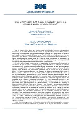 Orden EHA/1717/2010, de 11 de junio, de regulación y