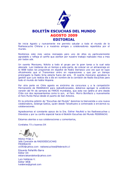BOLETÍN ESCUCHAS DEL MUNDO AGOSTO 2009 EDITORIAL