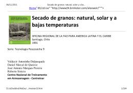 Secado de granos: natural, solar y a bajas temperaturas