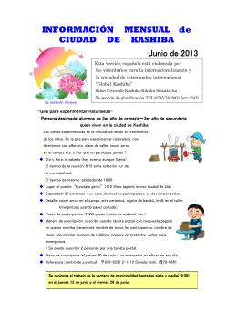 INFORMACIÓN MENSUAL de CIUDAD DE KASHIBA Junio de 2013