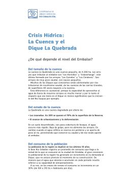 """Articulo """"Crisis Hídrica: La Cuenca y el Dique La Quebrada"""""""