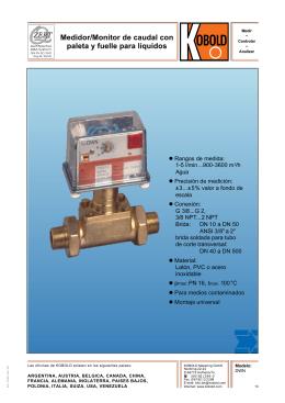 Medidor/Monitor de caudal con paleta y fuelle para