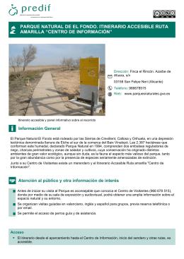 """parque natural de el fondo. itinerario accesible ruta amarilla """"centro"""