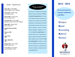 Campus Based Counseling Referral Centers 2014 - 2015
