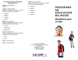 Beneficios para su hijo PROGRAMA DE EDUCACIÓN BILINGÚE