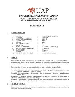 FACULTAD DE EDUCACIÓN Y HUMANIDADES SÍLABO 2009 – 2
