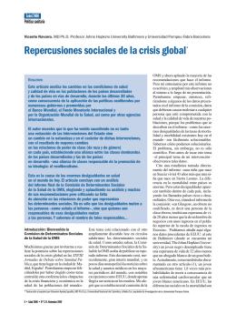 Repercusiones sociales de la crisis global*