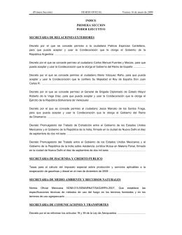 INDICE PRIMERA SECCION PODER EJECUTIVO SECRETARIA