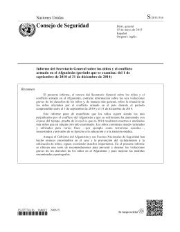Informe del Secretario General sobre los niños y el conflicto