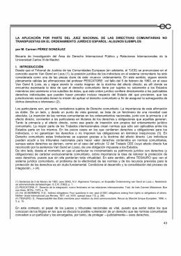 La aplicación por parte del Juez nacional de las Directivas