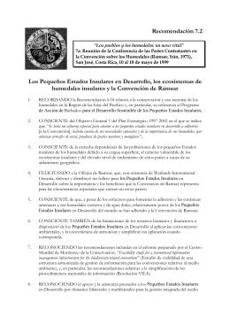 Recomendación 7.2 Los Pequeños Estados Insulares en
