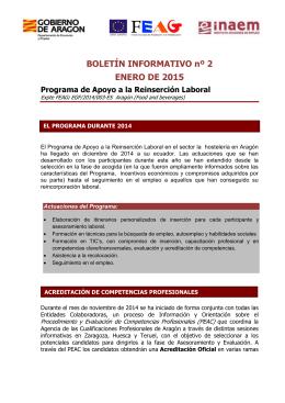 BOLETÍN INFORMATIVO nº 2 ENERO DE 2015