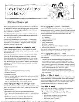 Los riesgos del uso del tabaco