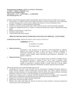 Programmazione Lingua Spagnola 1^ Turismo