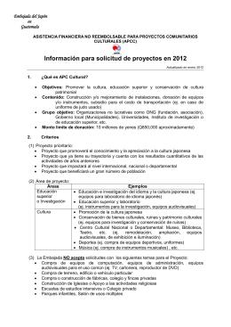 Instrucción APCC 12 - Embajada del Japón en Guatemala