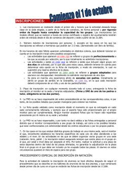 INSCRIPCIONES: - Ayuntamiento de Badajoz