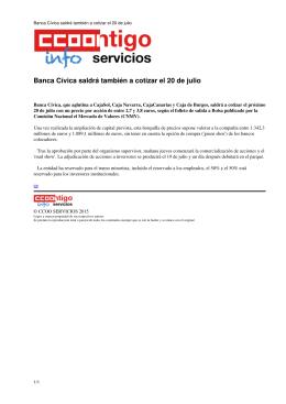 Banca Cívica saldrá también a cotizar el 20 de julio - ccoo