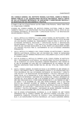 del consejo general del instituto federal electoral, sobre el financia