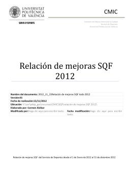 relación de mejoras SQF 2012