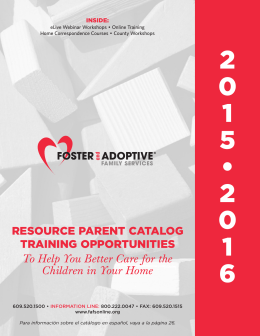 resource parent catalog training - Foster and Adoptive Family Services