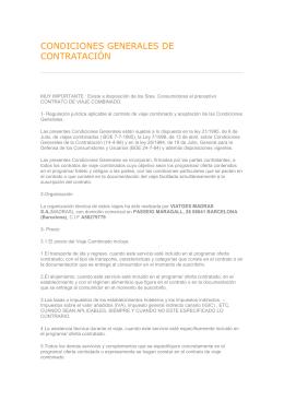 CONDICIONES GENERALES DE CONTRATACIÓN