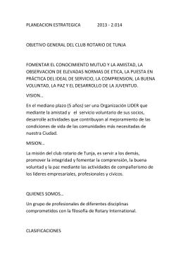 planeacion estrategica 2013 - 2.014 objetivo general del club rotario