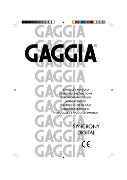 Gaggia Syncrony Digital Instructions for use user guide catalog