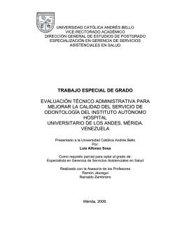 trabajo especial de grado evaluación técnico administrativa para