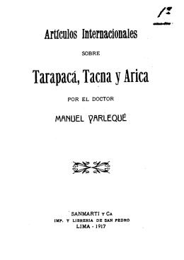 Artículos internaciobales sobre Tarapacá, Tacna y Arica