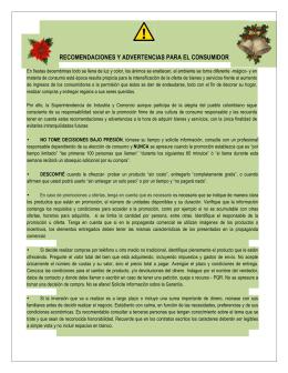RECOMENDACIONES Y ADVERTENCIAS PARA EL CONSUMIDOR