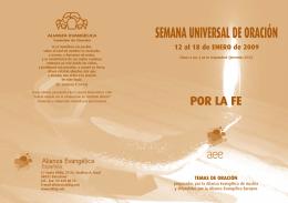 SEMANA UNIVERSAL DE ORACIÓN - Alianza Evangélica Española
