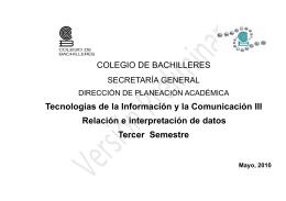Tecnologías de la Información y la Comunicación III Relación e