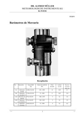 Barómetros de Mercurio - R.Fuess - Dr.A.Müller