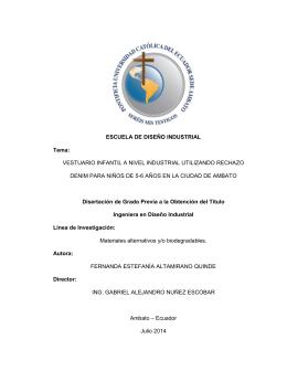 ESCUELA DE DISEÑO INDUSTRIAL Tema: VESTUARIO