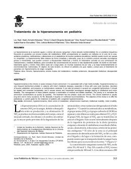 Tratamiento de la hiperamonemia en pediatría