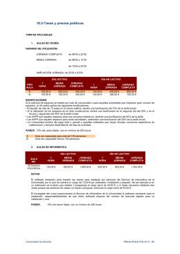 10.2-Tasas y precios públicos - Servicio de Gestión Académica