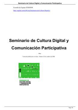 Seminario de Cultura Digital y Comunicación
