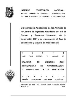 INSTITUTO POLITÉCNICO NACIONAL El Desempeño Académico