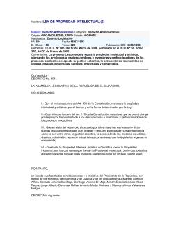 Nombre: LEY DE PROPIEDAD INTELECTUAL (2) Contenido